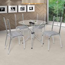 Conjunto de Mesa com 4 Cadeiras Camila Premium Ciplafe Cromado/Junco Cinza -