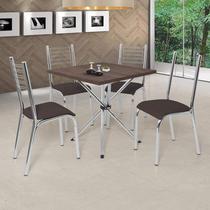 Conjunto de Mesa com 4 Cadeiras Camila Premium Ciplafe Cromado/Marrom -