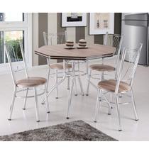 Conjunto de Mesa com 4 Cadeiras Estofadas Golf Móveis Brastubo Carvalho/Marrom -