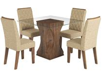 Conjunto de Mesa com 4 Cadeiras Estofadas - Viero Móveis Ravena