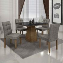 Conjunto de Mesa com 4 Cadeiras Itália II Ypê e Cinza - Leifer
