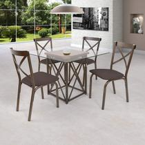Conjunto de Mesa com 4 Cadeiras Karina Ciplafe Bronze/Linho Marrom -