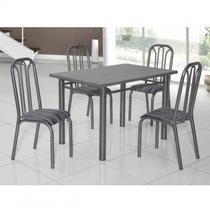 Conjunto de Mesa com 4 Cadeiras Lion Clássica Ciplafe Craqueado Preto/Riscado Preto -