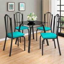 Conjunto de Mesa com 4 Cadeiras Lotus I Preto Fosco com Azul - Artefamol