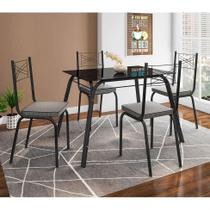 Conjunto de Mesa com 4 Cadeiras Lotus I Preto Fosco com Platina - Artefamol