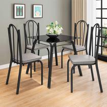 Conjunto de Mesa com 4 Cadeiras Lotus Preto Fosco com Platina - Artefamol