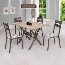 Conjunto de Mesa com 4 Cadeiras Luna Ciplafe Bronze/Bege Geométrico -