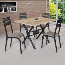 Conjunto de Mesa com 4 Cadeiras Luna Ciplafe Craqueado Preto/Junco Manteiga -