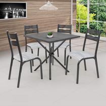 Conjunto de Mesa com 4 Cadeiras Luna Ciplafe Craqueado Preto/Riscado Branco -