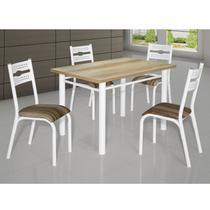 Conjunto de Mesa com 4 Cadeiras Luna Clássica Ciplafe Branco/Capuccino -