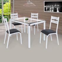 Conjunto de Mesa com 4 Cadeiras Luna Clássica Ciplafe Branco/Preto -