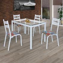 Conjunto de Mesa com 4 Cadeiras Luna Clássica Ciplafe Branco -