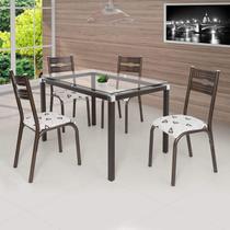 Conjunto de Mesa com 4 Cadeiras Luna Clássica Ciplafe Bronze/Bege Geométrico -