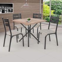 Conjunto de Mesa com 4 Cadeiras Luna Clássica Ciplafe Craqueado Preto/Junco Manteiga -