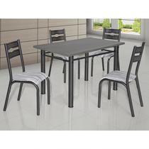 Conjunto de Mesa com 4 Cadeiras Luna Clássica Ciplafe Craqueado Preto/Riscado Branco -