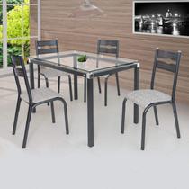 Conjunto de Mesa com 4 Cadeiras Luna Clássica Ciplafe Preto/Junco Manteiga -