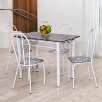 Conjunto de Mesa com 4 Cadeiras Monique Branco - Artefamol