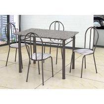 Conjunto de Mesa com 4 Cadeiras Monique Craquado Preto e Linho - Artefamol