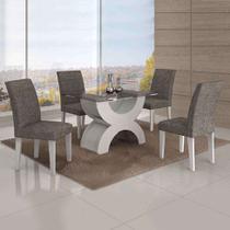 Conjunto de Mesa com 4 Cadeiras Olímpia Linho Branco e Cinza - Leifer
