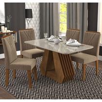 Conjunto de Mesa com 4 Cadeiras para Sala de Jantar 130x80 Agata/Nicole-Cimol -