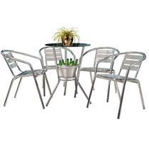 Conjunto de Mesa com 4 Cadeiras para Varanda CJMB409100-Alegro Móveis -