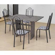 Conjunto de Mesa com 4 Cadeiras Pietra Craqueado Preto e Branco - Artefamol