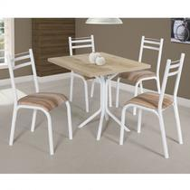 Conjunto de Mesa com 4 Cadeiras Plaza Clássica Ciplafe Branco/Capuccino -