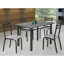Conjunto de Mesa com 4 Cadeiras Plaza Clássica Ciplafe Craqueado Preto/Riscado Branco -