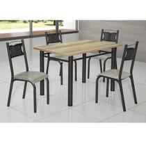 Conjunto de Mesa com 4 Cadeiras Poeme Clássica Ciplafe Craqueado Preto/Junco Manteiga -