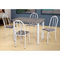Conjunto de Mesa com 4 Cadeiras Sara Branco e Preto Listrado - Artefamol