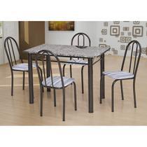 Conjunto de Mesa com 4 Cadeiras Sara Craqueado Preto e Linho - Artefamol
