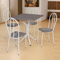 Conjunto de Mesa com 4 Cadeiras Thais Branco, Listrado Branco e Preto - Artefamol