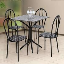 Conjunto de Mesa com 4 Cadeiras Thais Craqueado Preto Listrado Branco e Preto - Artefamol
