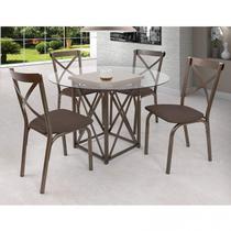 Conjunto de Mesa com 4 Lugares Karina Móveis Ciplafe Bronze / Linho Marrom -
