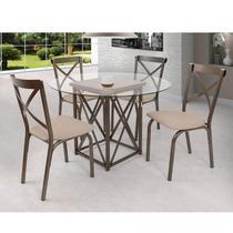 Conjunto de Mesa com 4 Lugares Karina Móveis Ciplafe Linho Bege -
