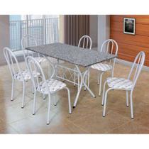 Conjunto de Mesa com 6 Cadeiras Bruna Branco e Estampa Capitonê - Artefamol
