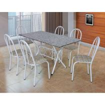 Conjunto de Mesa com 6 Cadeiras Bruna Branco e Estampa Rattan I - Artefamol