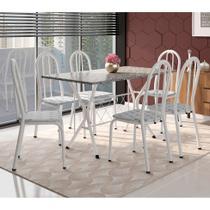 Conjunto de Mesa com 6 Cadeiras Bruna Cinza e Estampa Capitonê - Artefamol