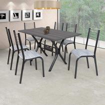 Conjunto de Mesa com 6 Cadeiras Camila Ciplafe Preto -