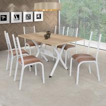 Conjunto de Mesa com 6 Cadeiras Camila Clássica Ciplafe Branco/Capuccino -