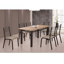Conjunto de Mesa com 6 Cadeiras Camila Clássica Ciplafe Craqueado Preto/Junco Manteiga -