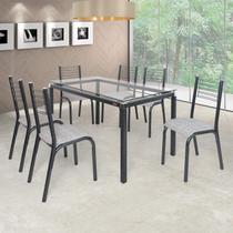 Conjunto de Mesa com 6 Cadeiras Camila Clássica Ciplafe Preto/Junco Manteiga -