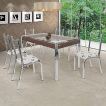 Conjunto de Mesa com 6 Cadeiras Camila Premium Ciplafe Cromado/Bege Geométrico -