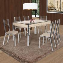 Conjunto de Mesa com 6 Cadeiras Camila Premium Ciplafe Cromado/Bege -