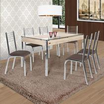Conjunto de Mesa com 6 Cadeiras Camila Premium Ciplafe Cromado/Marrom -