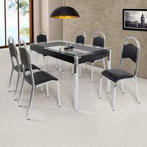 Conjunto de Mesa com 6 Cadeiras Cris Cromado Ciplafe Cromado/Preto -