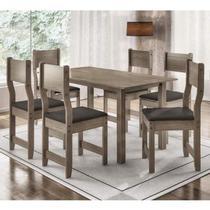5b493a156 Conjunto de Mesa com 6 Cadeiras Dallas Indekes Nogal Preto