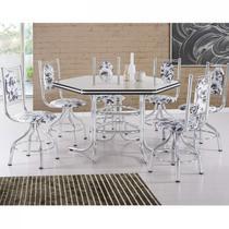Conjunto de Mesa com 6 Cadeiras Giratórias Zeus Móveis Brastubo Cromado/Floral -