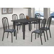 Conjunto de Mesa com 6 Cadeiras Lion Clássica Ciplafe Craqueado Preto/Riscado Preto -