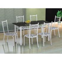 Conjunto de Mesa com 6 Cadeiras Lisboa Branco e Branco Floral - Fabone